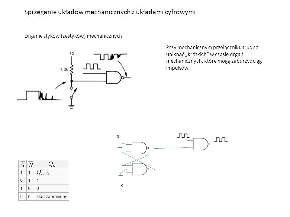 """Sprzęganie układów mechanicznych z układami cyfrowymi Drganie styków (zestyków) mechanicznych Przy mechanicznym przełączniku trudno uniknąć """"krótkich w czasie drgań mechanicznych, które mogą zaburzyć ciąg impulsów."""