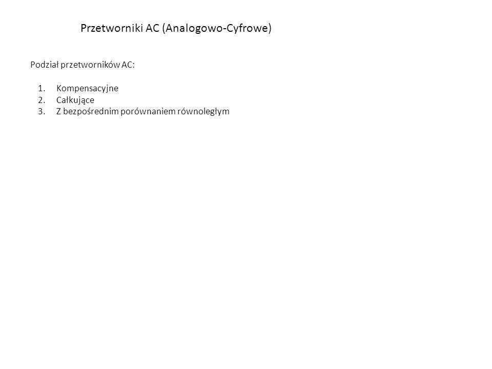 Przetworniki AC (Analogowo-Cyfrowe) Podział przetworników AC: 1.Kompensacyjne 2.Całkujące 3.Z bezpośrednim porównaniem równoległym