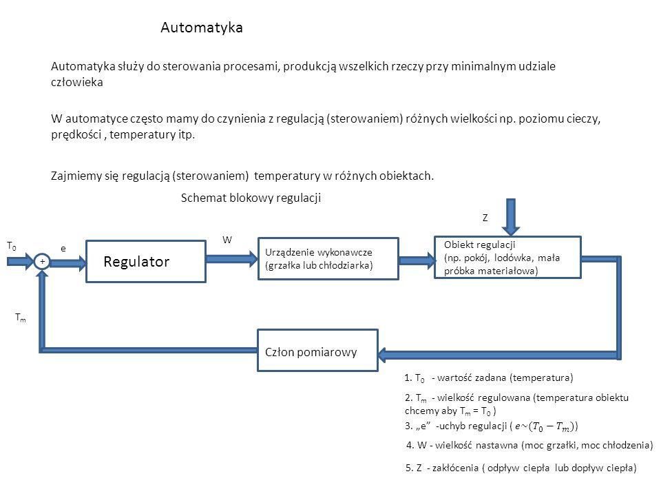 Automatyka Automatyka służy do sterowania procesami, produkcją wszelkich rzeczy przy minimalnym udziale człowieka W automatyce często mamy do czynienia z regulacją (sterowaniem) różnych wielkości np.