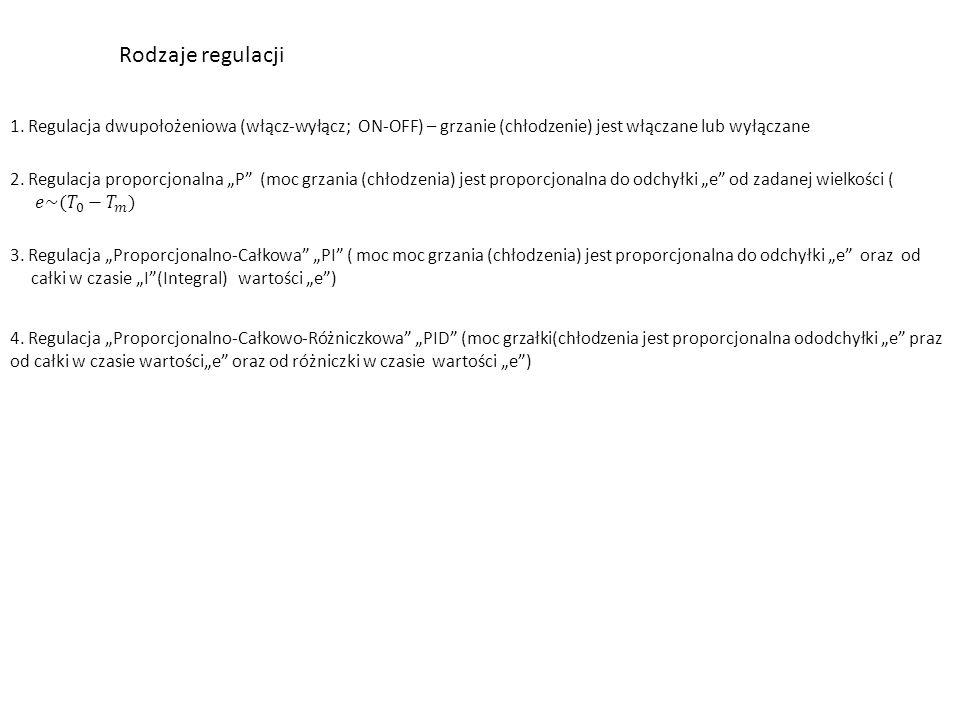"""Rodzaje regulacji 1. Regulacja dwupołożeniowa (włącz-wyłącz; ON-OFF) – grzanie (chłodzenie) jest włączane lub wyłączane 3. Regulacja """"Proporcjonalno-C"""