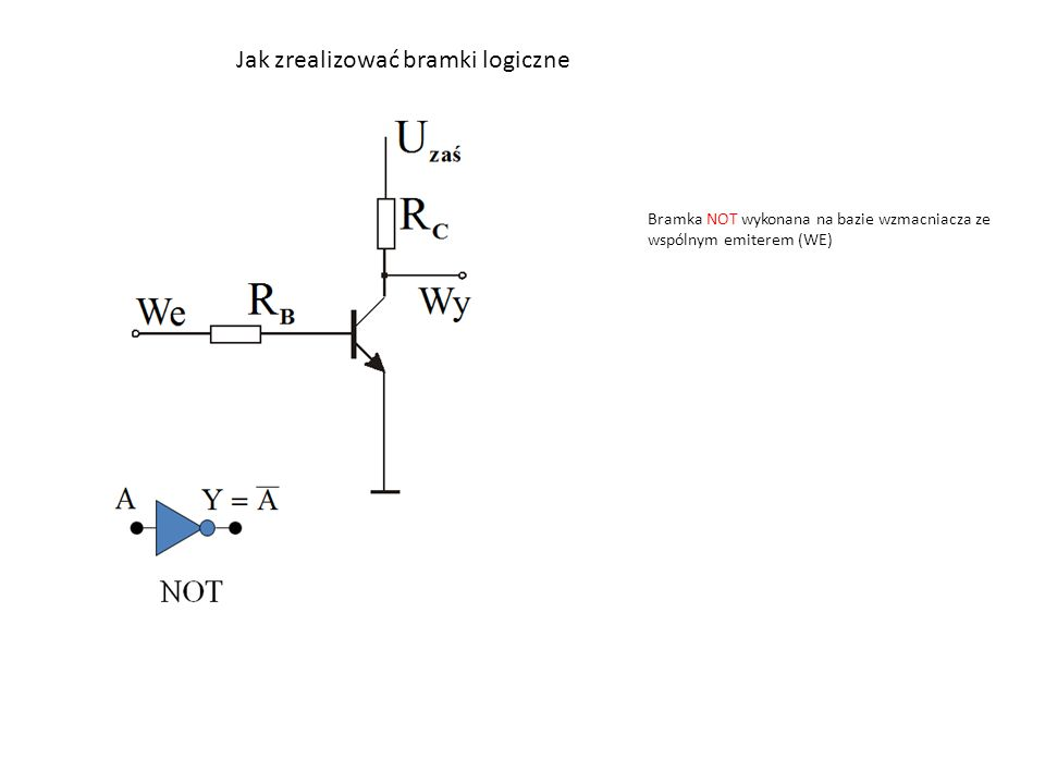 Jak zrealizować bramki logiczne Bramka NOT wykonana na bazie wzmacniacza ze wspólnym emiterem (WE)
