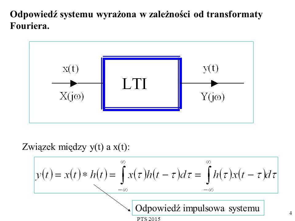 PTS 2015 4 Odpowiedź systemu wyrażona w zależności od transformaty Fouriera.