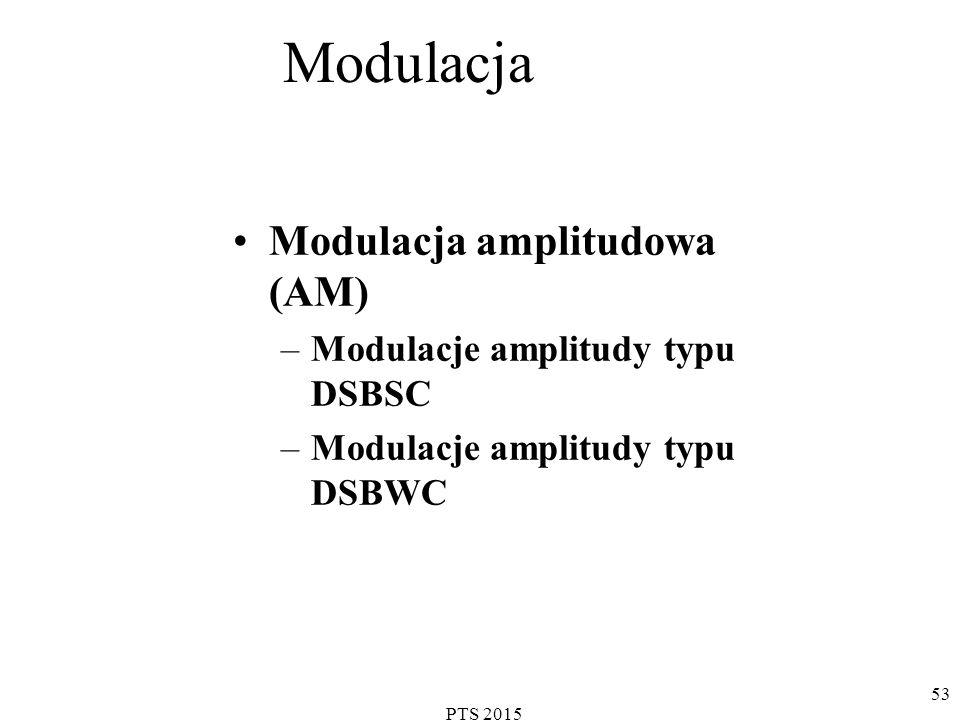 PTS 2015 53 Modulacja Modulacja amplitudowa (AM) –Modulacje amplitudy typu DSBSC –Modulacje amplitudy typu DSBWC