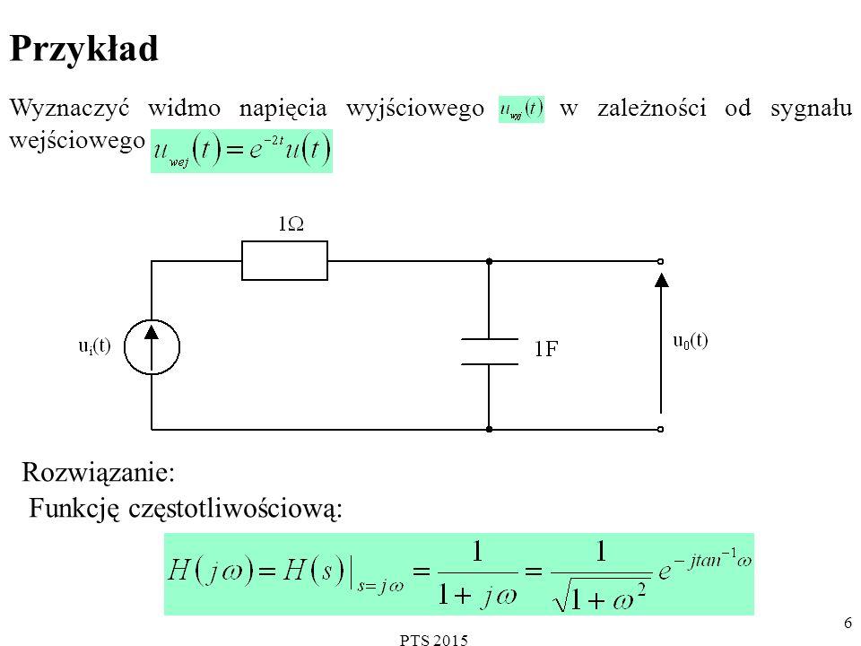 PTS 2015 6 Przykład Wyznaczyć widmo napięcia wyjściowego w zależności od sygnału wejściowego.