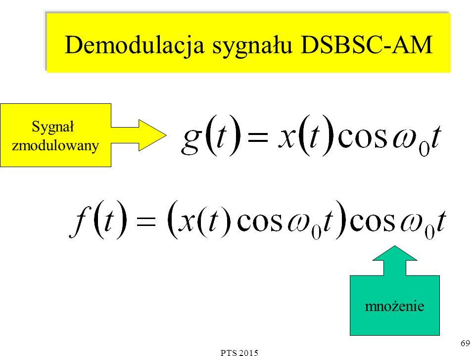 PTS 2015 69 Demodulacja sygnału DSBSC-AM Sygnał zmodulowany mnożenie
