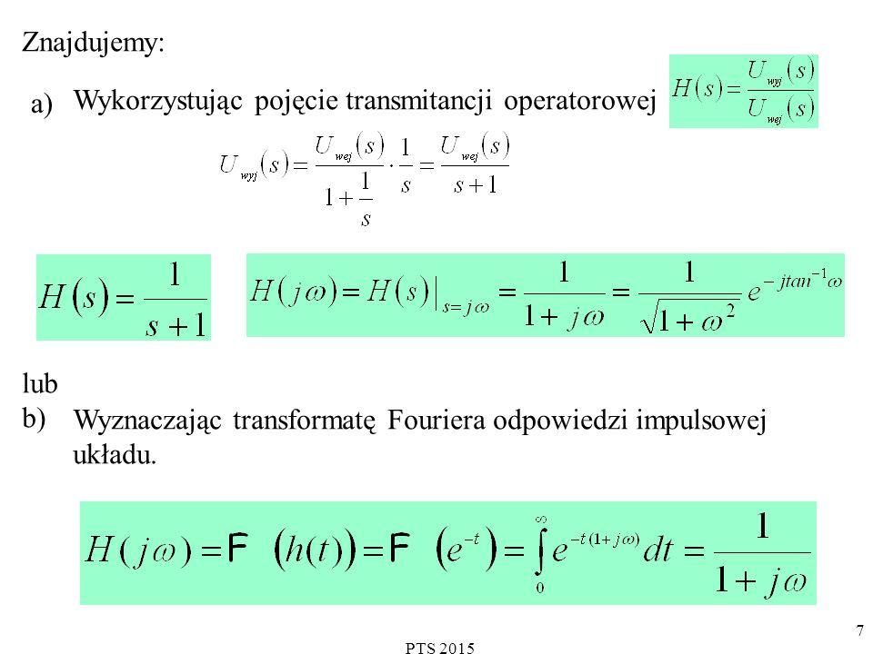 PTS 2015 7 Znajdujemy: a) Wykorzystując pojęcie transmitancji operatorowej lub b) Wyznaczając transformatę Fouriera odpowiedzi impulsowej układu.