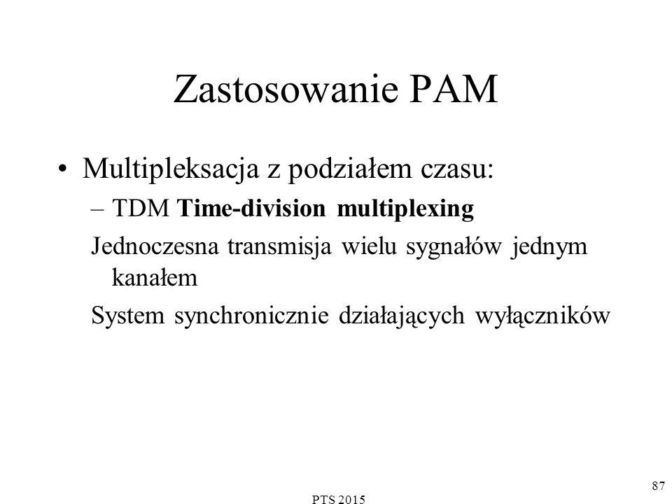 PTS 2015 87 Zastosowanie PAM Multipleksacja z podziałem czasu: –TDM Time-division multiplexing Jednoczesna transmisja wielu sygnałów jednym kanałem System synchronicznie działających wyłączników