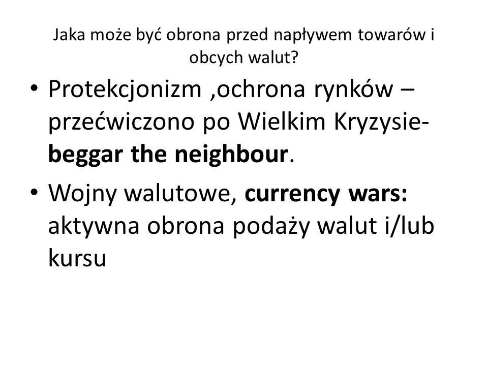 Jaka może być obrona przed napływem towarów i obcych walut.