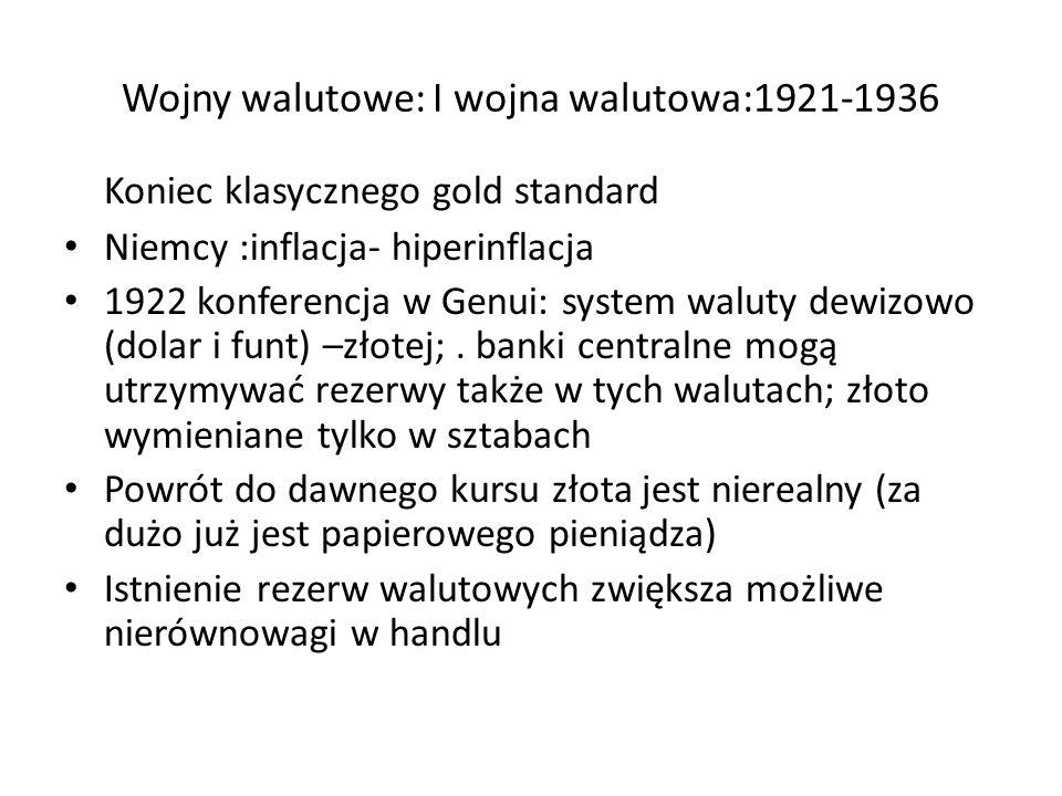 Wojny walutowe: I wojna walutowa:1921-1936 Koniec klasycznego gold standard Niemcy :inflacja- hiperinflacja 1922 konferencja w Genui: system waluty dewizowo (dolar i funt) –złotej;.