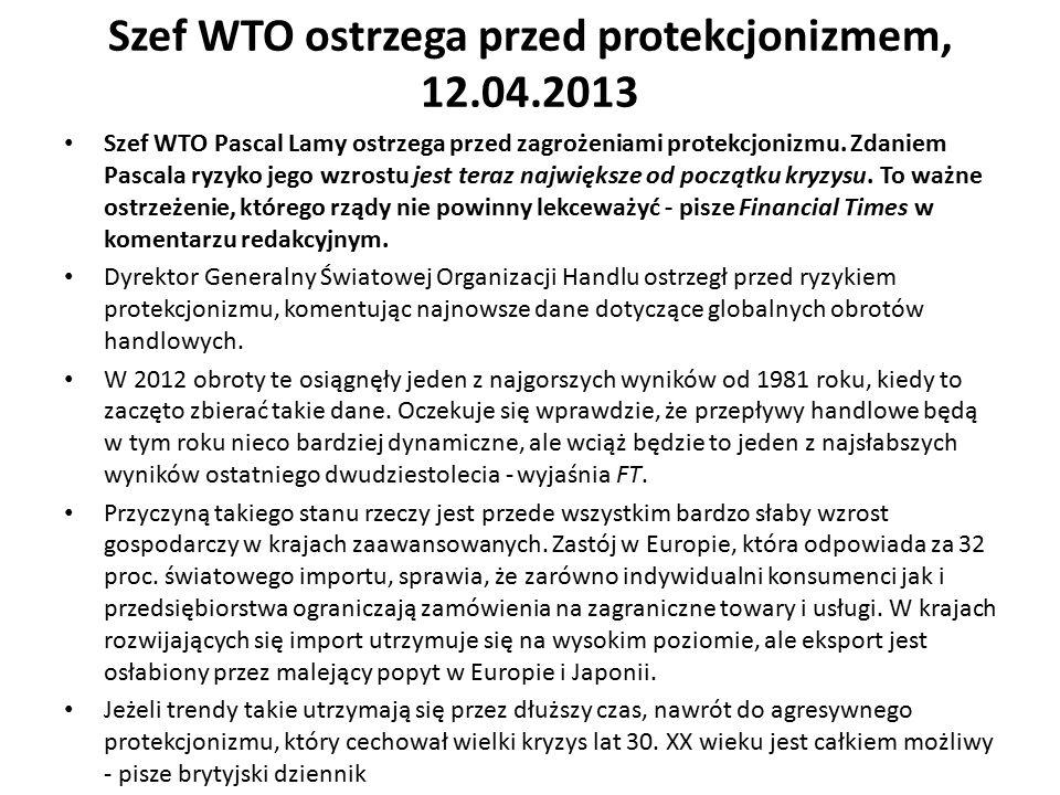 Szef WTO ostrzega przed protekcjonizmem, 12.04.2013 Szef WTO Pascal Lamy ostrzega przed zagrożeniami protekcjonizmu. Zdaniem Pascala ryzyko jego wzros