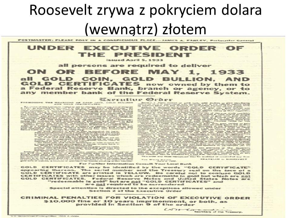 Roosevelt zrywa z pokryciem dolara (wewnątrz) złotem