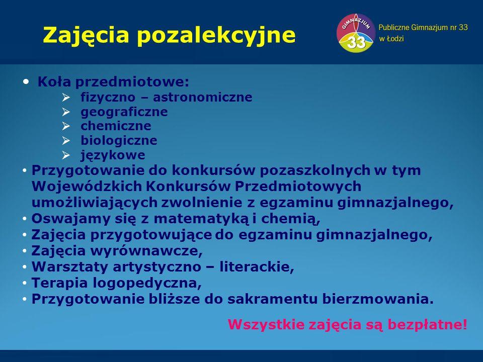 Koła przedmiotowe:  fizyczno – astronomiczne  geograficzne  chemiczne  biologiczne  językowe Przygotowanie do konkursów pozaszkolnych w tym Wojew