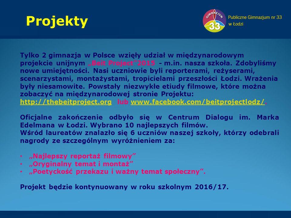 """Projekty Tylko 2 gimnazja w Polsce wzięły udział w międzynarodowym projekcie unijnym """"Beit Project 2015 - m.in."""