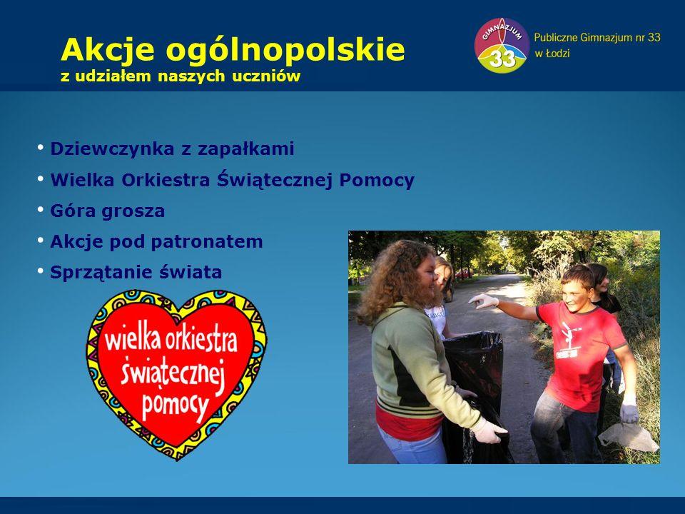Dziewczynka z zapałkami Wielka Orkiestra Świątecznej Pomocy Góra grosza Akcje pod patronatem Sprzątanie świata Akcje ogólnopolskie z udziałem naszych uczniów