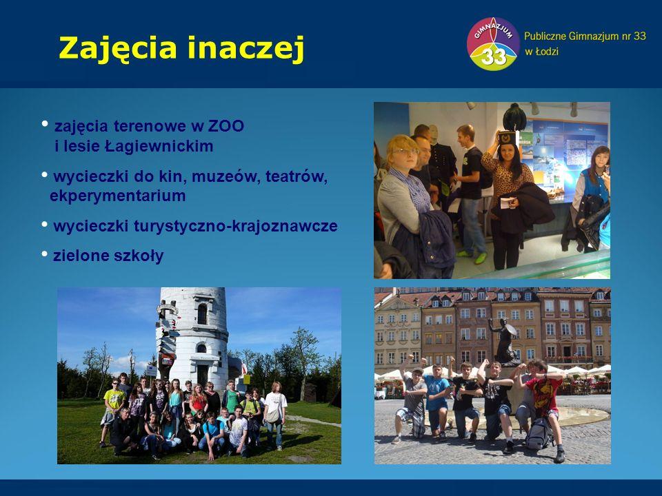 zajęcia terenowe w ZOO i lesie Łagiewnickim wycieczki do kin, muzeów, teatrów, ekperymentarium wycieczki turystyczno-krajoznawcze zielone szkoły Zajęcia inaczej