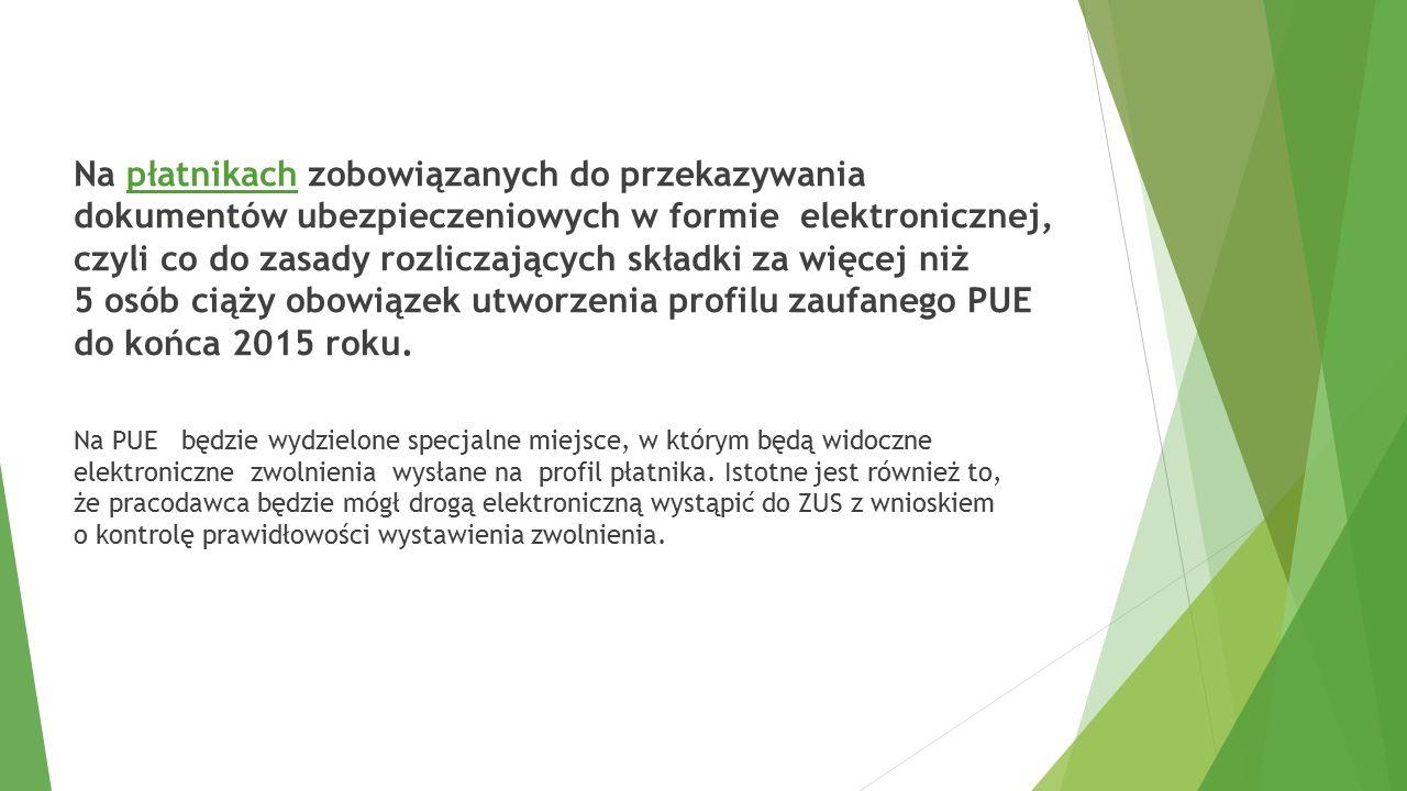 Założenie zaufanego profilu ZUS PEU Etap przygotowawczy:  Wytypowanie przez Dyrektora placówki, co najmniej dwóch osób odpowiedzialnych za odbiór zwolnień z zaufanego profilu ZUS PUE do dnia 28.10.2015 oraz przekazanie tej informacji do DBFO – Targówek m.