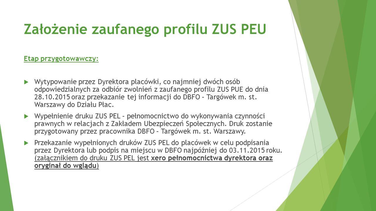 Założenie zaufanego profilu ZUS PEU Etap przygotowawczy:  Wytypowanie przez Dyrektora placówki, co najmniej dwóch osób odpowiedzialnych za odbiór zwo