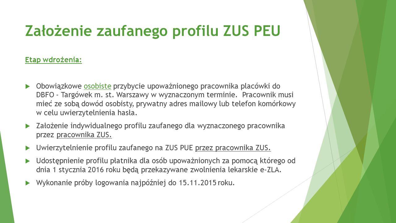 Założenie zaufanego profilu ZUS PEU Etap wdrożenia:  Obowiązkowe osobiste przybycie upoważnionego pracownika placówki do DBFO - Targówek m. st. Warsz
