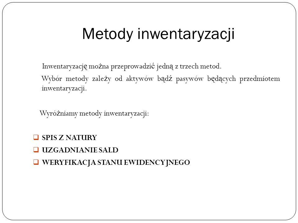 Metody inwentaryzacji Inwentaryzacj ę mo ż na przeprowadzi ć jedn ą z trzech metod.