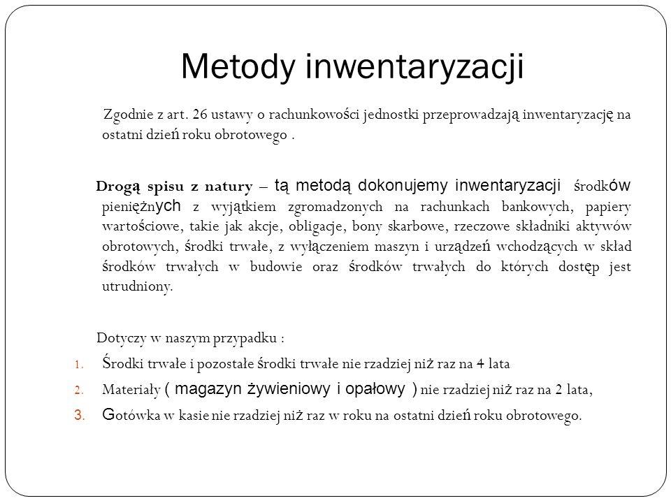 Metody inwentaryzacji Zgodnie z art.