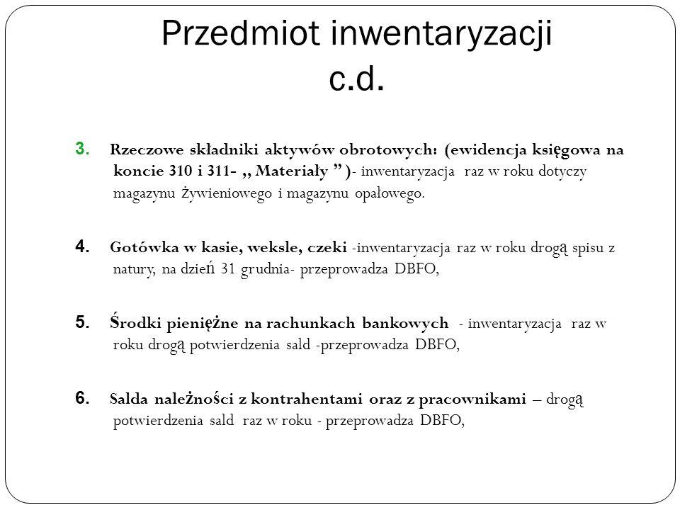 Przedmiot inwentaryzacji c.d. 3.