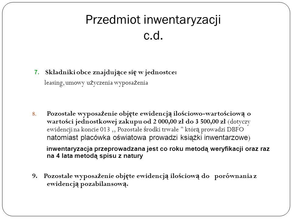 Przedmiot inwentaryzacji c.d. 7.