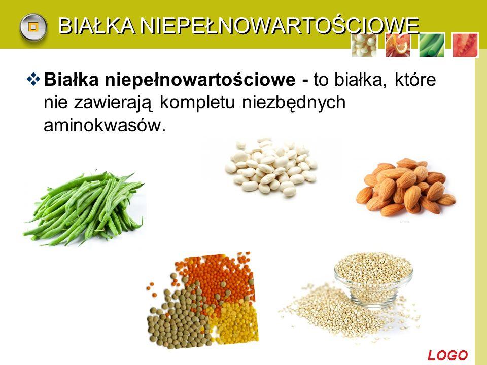 LOGO BIAŁKA NIEPEŁNOWARTOŚCIOWE  Białka niepełnowartościowe - to białka, które nie zawierają kompletu niezbędnych aminokwasów.
