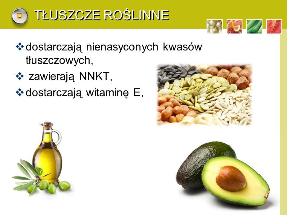 LOGO TŁUSZCZE ROŚLINNE  dostarczają nienasyconych kwasów tłuszczowych,  zawierają NNKT,  dostarczają witaminę E,