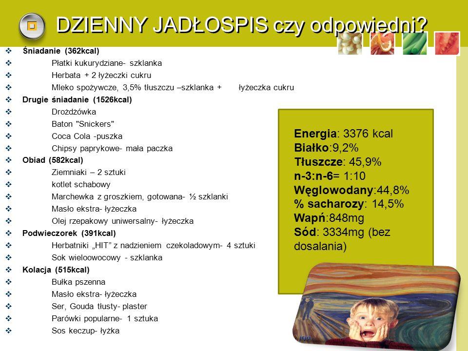 LOGO DZIENNY JADŁOSPIS czy odpowiedni?  Śniadanie (362kcal)  Płatki kukurydziane- szklanka  Herbata + 2 łyżeczki cukru  Mleko spożywcze, 3,5% tłus