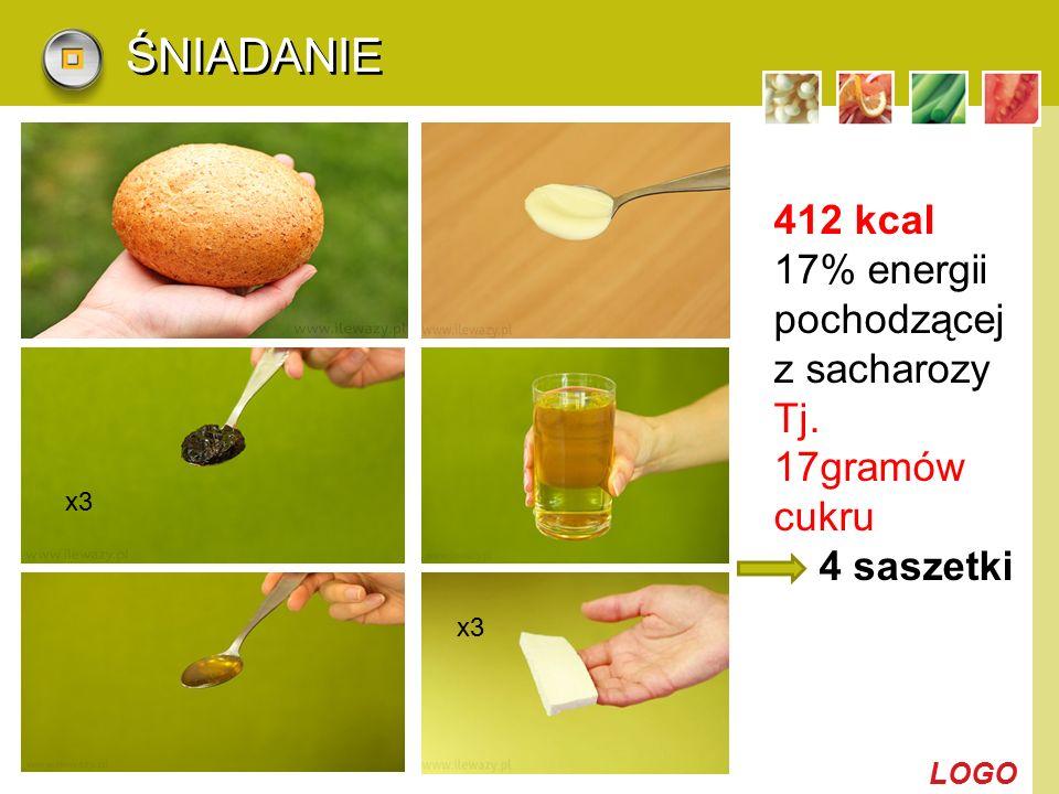 LOGO ŚNIADANIE x3 412 kcal 17% energii pochodzącej z sacharozy Tj. 17gramów cukru 4 saszetki x3