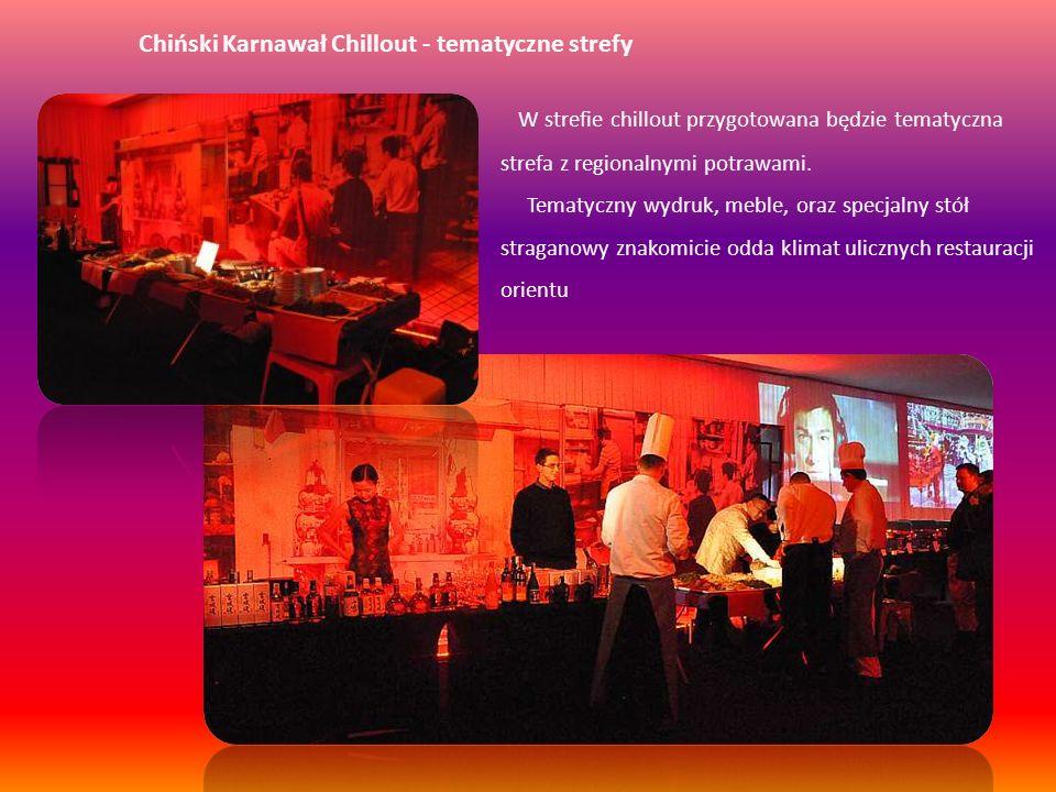 Chiński Karnawał Chillout - tematyczne strefy W strefie chillout przygotowana będzie tematyczna strefa z regionalnymi potrawami. Tematyczny wydruk, me