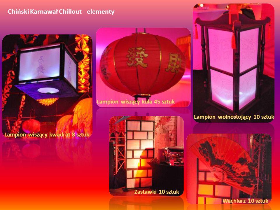 Chiński Karnawał Chillout - elementy Lampion wolnostojący 10 sztuk Lampion wiszący kula 45 sztuk Lampion wiszący kwadrat 8 sztuk Wachlarz 10 sztuk Zas