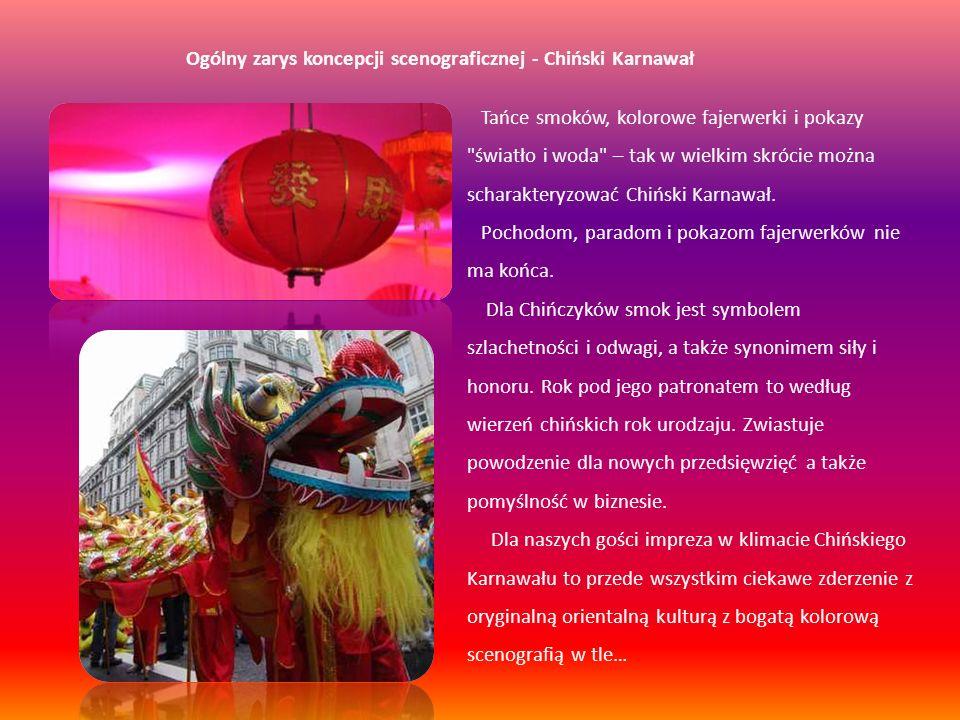 Dwie strefy aranżacji Motywem przewodnim koncepcji jest aranżacja Chińskiej Ulicy w czasie obchodów nadejścia Nowego Roku, z głównymi atrybutami tego święta.