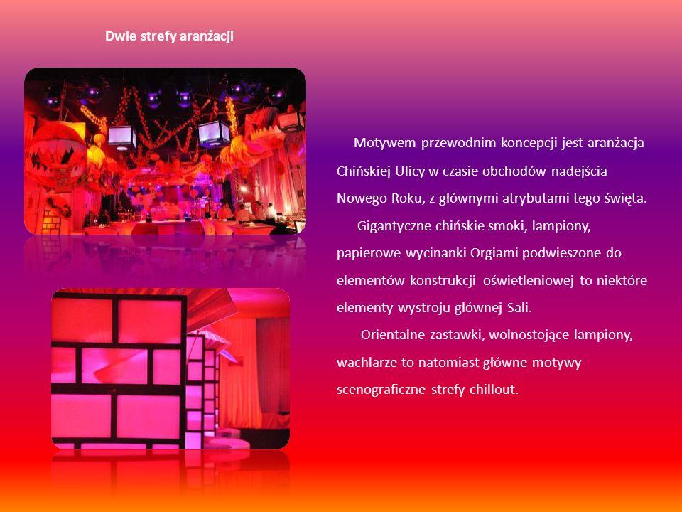 Dwie strefy aranżacji Motywem przewodnim koncepcji jest aranżacja Chińskiej Ulicy w czasie obchodów nadejścia Nowego Roku, z głównymi atrybutami tego