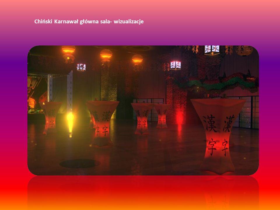Chiński Karnawał główna sala - scena Scena w Sali głównej naszej imprezy zaaranżowana w formie chińskiej budowli z pogodą i wydrukiem tematycznym w tle.