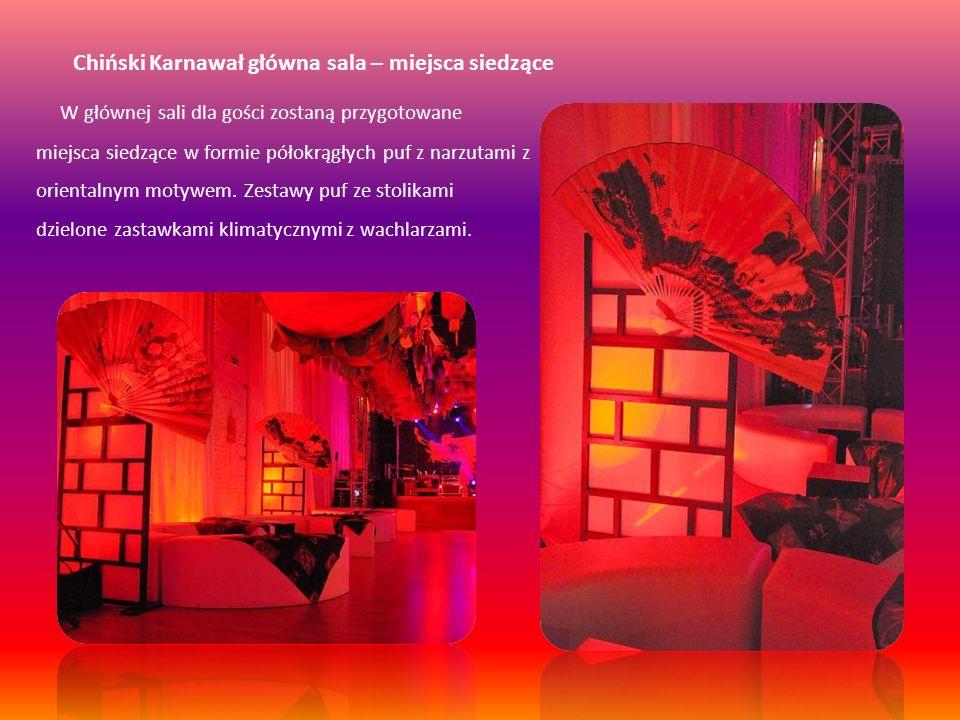 Chiński Karnawał główna sala – stoliki koktajlowe Na sali ustawione zostaną również specjalnie przygotowane stoliki koktajlowe kwadratowe.
