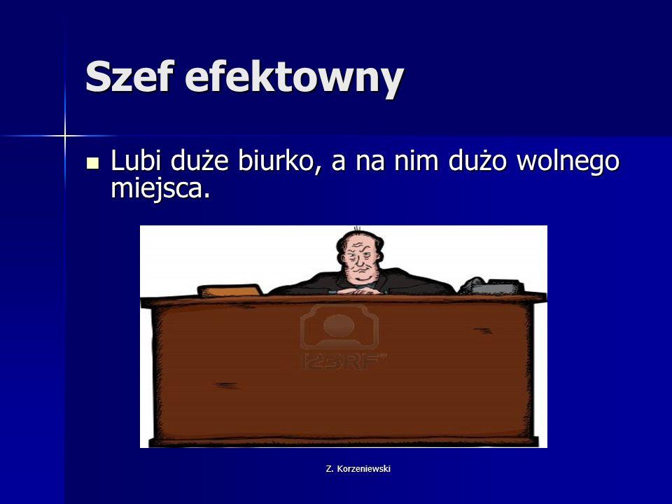 Z. Korzeniewski Szef efektowny Lubi duże biurko, a na nim dużo wolnego miejsca.