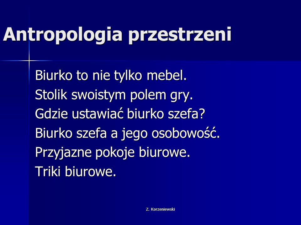 Z. Korzeniewski Antropologia przestrzeni Biurko to nie tylko mebel.