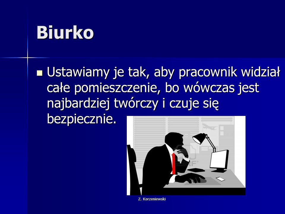 Z. Korzeniewski Biurko Ustawiamy je tak, aby pracownik widział całe pomieszczenie, bo wówczas jest najbardziej twórczy i czuje się bezpiecznie. Ustawi