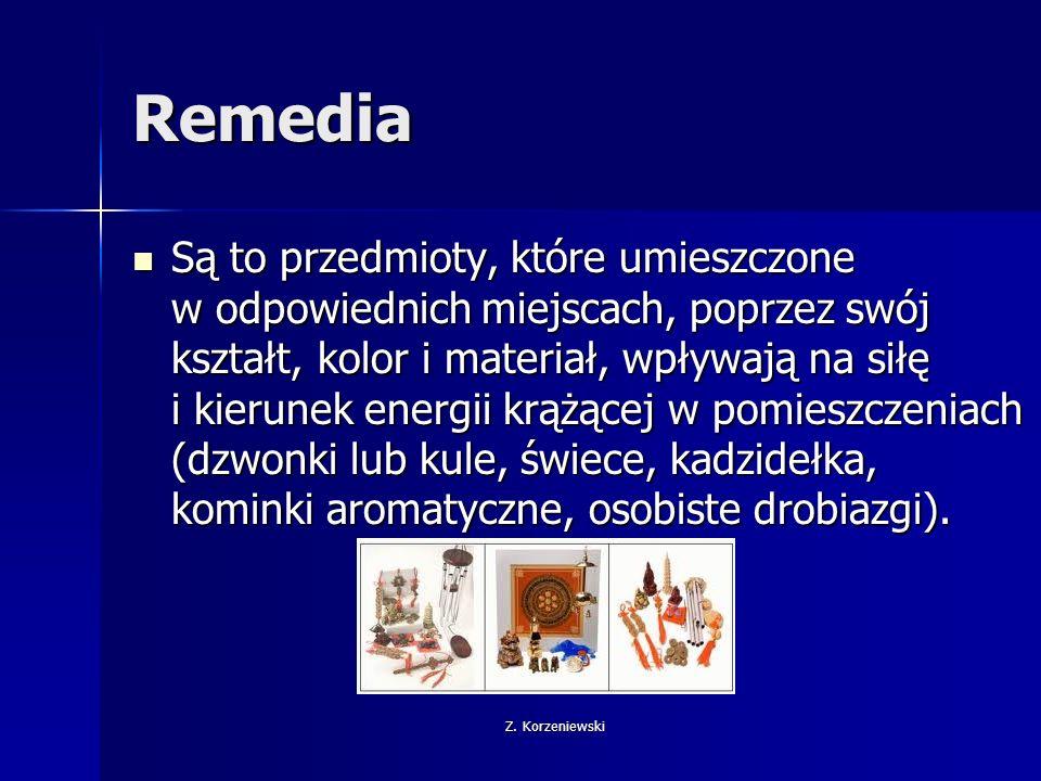 Z. Korzeniewski Remedia Są to przedmioty, które umieszczone w odpowiednich miejscach, poprzez swój kształt, kolor i materiał, wpływają na siłę i kieru