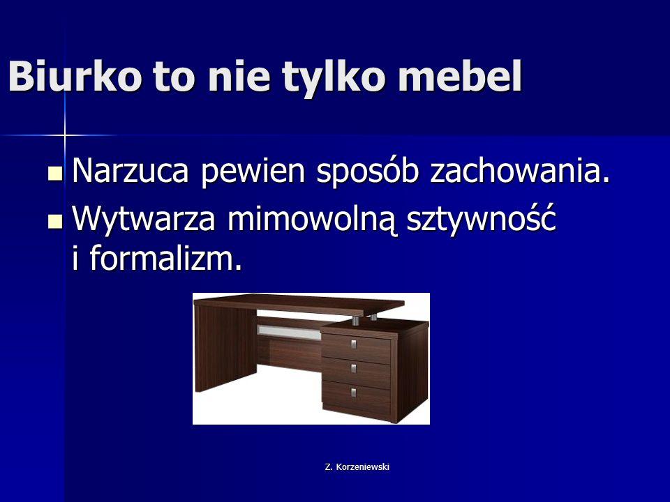 Z.Korzeniewski Biurko to nie tylko mebel Nie mniejszą rolę odgrywa w pracy zespołowej.