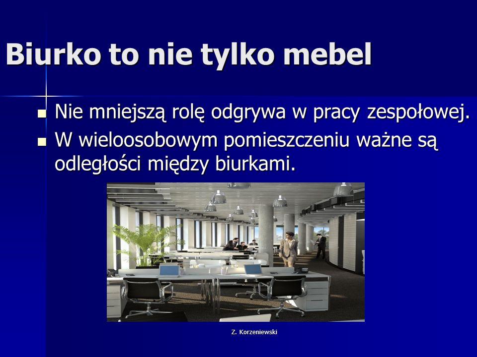 Z. Korzeniewski Biurko to nie tylko mebel Nie mniejszą rolę odgrywa w pracy zespołowej.