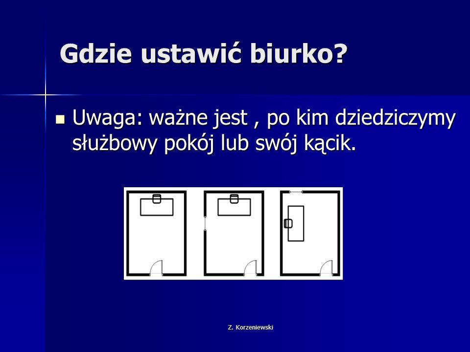 """Z.Korzeniewski Triki biurowe Przesuwając biurko możliwie najbliżej drzwi """"ograniczamy przestrzeń."""