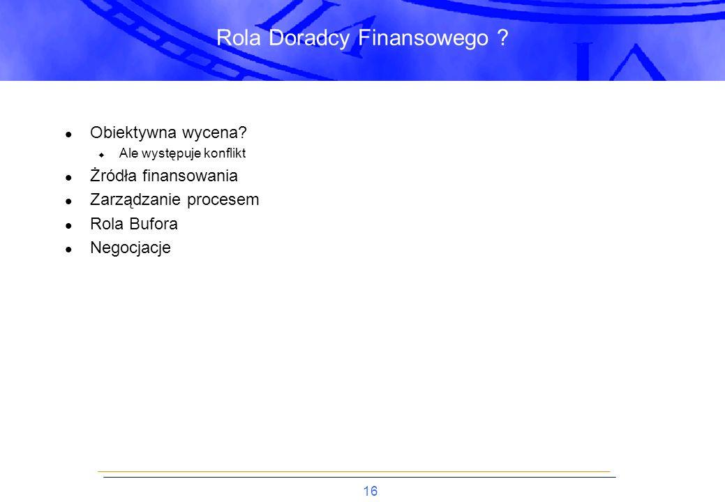 16 Rola Doradcy Finansowego . Obiektywna wycena.