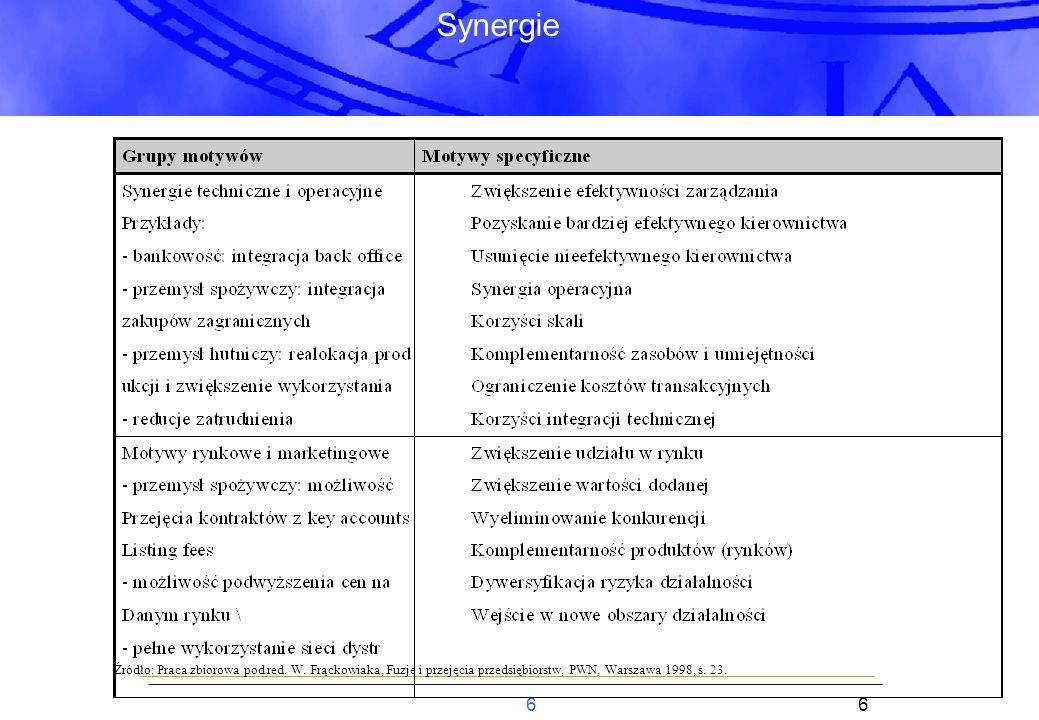 17 Proces Rezultaty: (1)Uzyskanie kontroli nad procesem (o ile to możliwe) (2)Przekonanie sprzedających, że jesteśmy optymalnym nabywcą (wiarygodność, zdeterminowanie + chemia) (3) Budowanie pozycji negocjacyjnej Kluczowe kwestieCzynniki sukcesu Dlaczego właściciele chcą sprzedać (strategia / podejście oportunistyczne) Formalny vs.