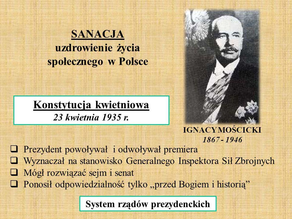 IGNACY MOŚCICKI 1867 - 1946 SANACJA uzdrowienie życia społecznego w Polsce Konstytucja kwietniowa 23 kwietnia 1935 r.