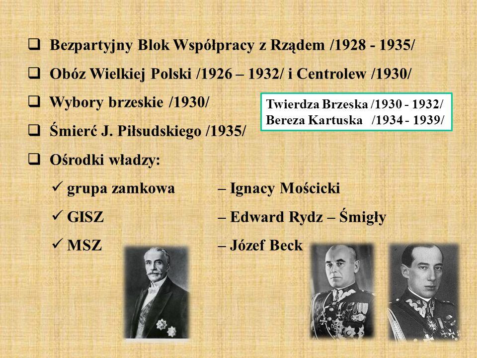  Bezpartyjny Blok Współpracy z Rządem /1928 - 1935/  Obóz Wielkiej Polski /1926 – 1932/ i Centrolew /1930/  Wybory brzeskie /1930/  Śmierć J.