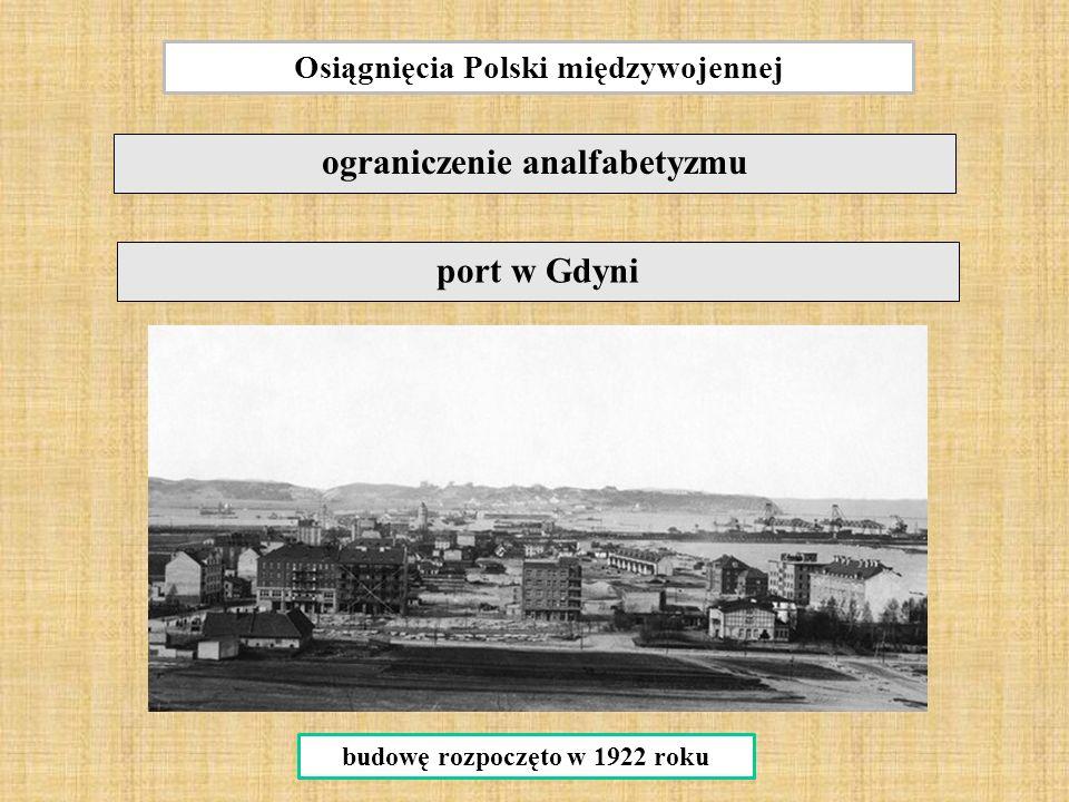 Osiągnięcia Polski międzywojennej ograniczenie analfabetyzmu port w Gdyni budowę rozpoczęto w 1922 roku