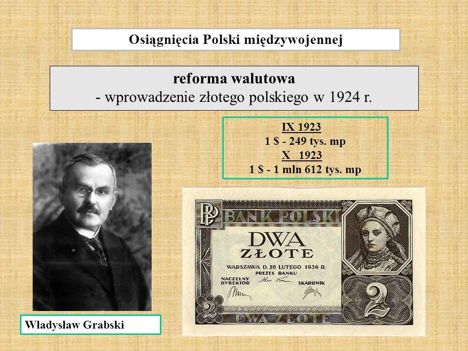 Osiągnięcia Polski międzywojennej reforma walutowa - wprowadzenie złotego polskiego w 1924 r.