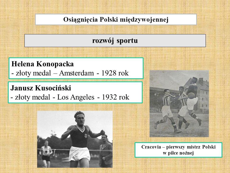 Osiągnięcia Polski międzywojennej rozwój sportu Janusz Kusociński - złoty medal - Los Angeles - 1932 rok Cracovia – pierwszy mistrz Polski w piłce nożnej Helena Konopacka - złoty medal – Amsterdam - 1928 rok